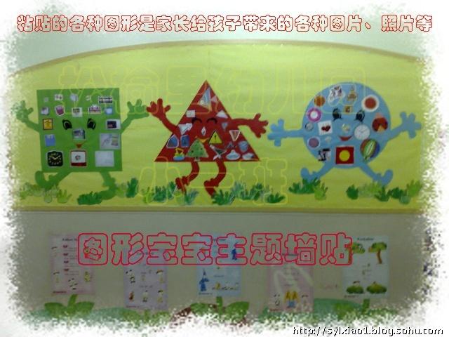图形宝宝的主题墙饰-松榆里幼儿园07年入学的中一班