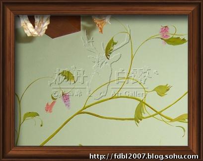 手绘电视墙--绿藤