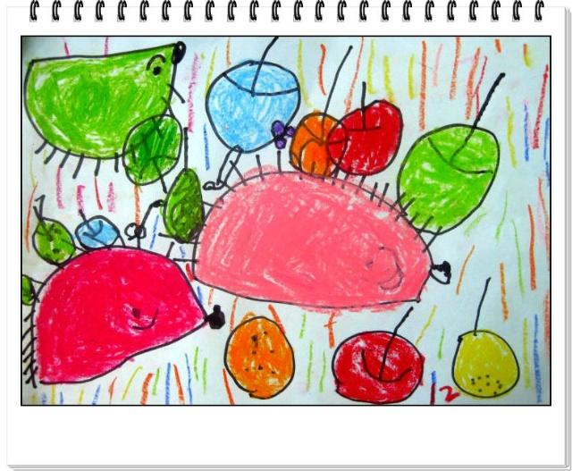 中班美术作品(三)——刺猬背果果
