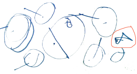 在角落里画了一条比肚子里的鱼大一些的鱼(红色圈圈图片