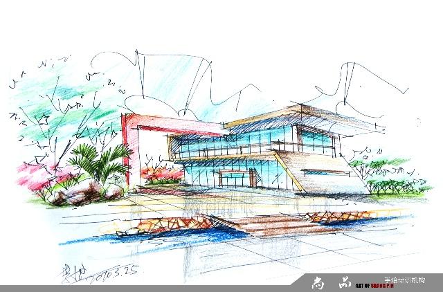 建筑手绘彩铅效果图_彩铅手绘建筑图_彩铅手绘效果图