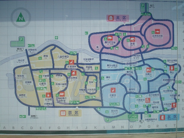 动物园,路线图.我们要从正门走到那片粉色区域,跋涉吧!